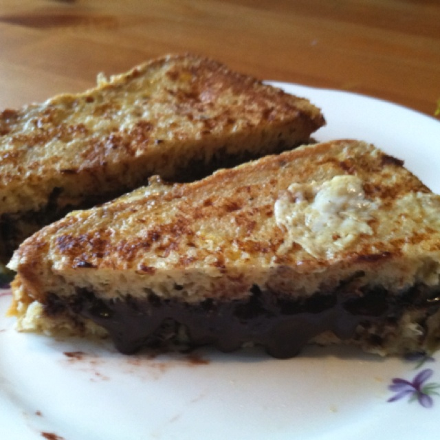 Chocolate peanut butter french toast sandwich