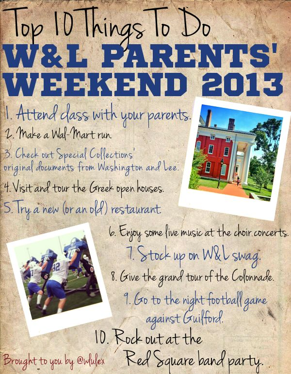 Top ten things to do for this #wluParents weekend.