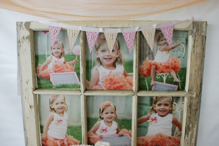 Turn an old vintage window frame into a photo frame. #DIY #partydecor