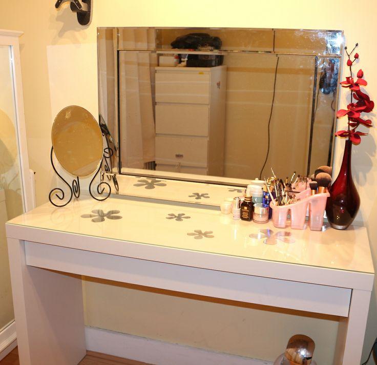 Ikea Flaxa Headboard With Storage ~ small table mirror from ikea  Makeup Organization & Vanities  Pinte
