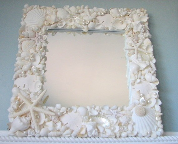 Beach decor white seashell mirror nautical decor shell for Shell diy
