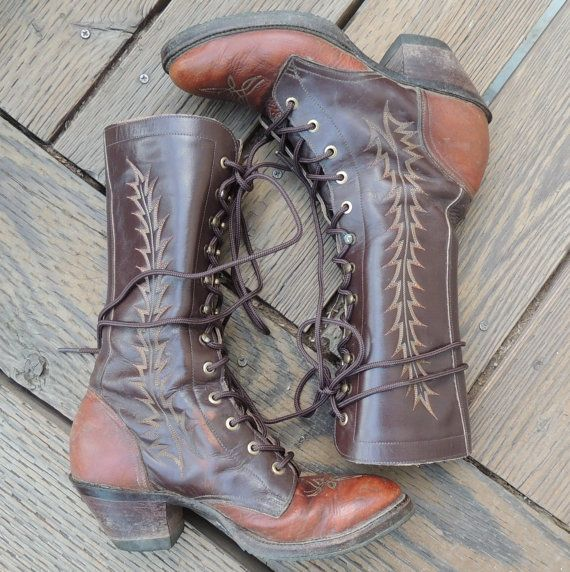 Vtg tony lama embroidered lace up boots fancy roper packer wome