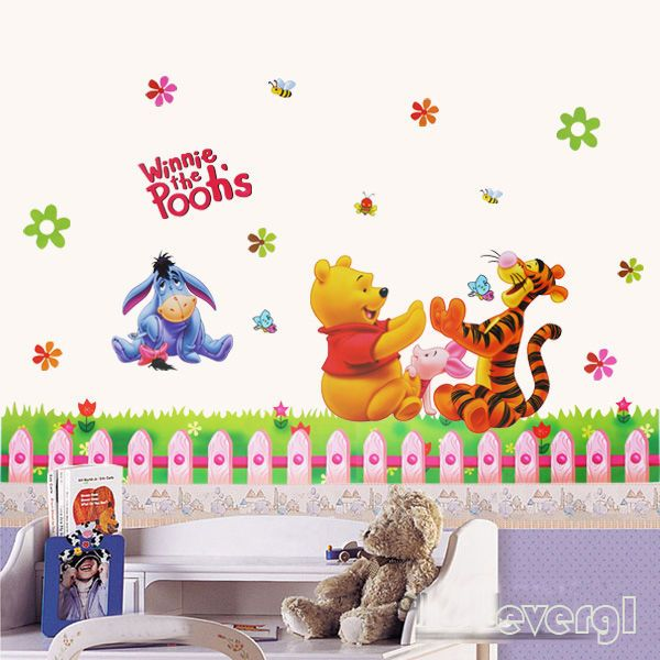 Removable winnie the pooh wall sticker vinyl decals for nursery baby