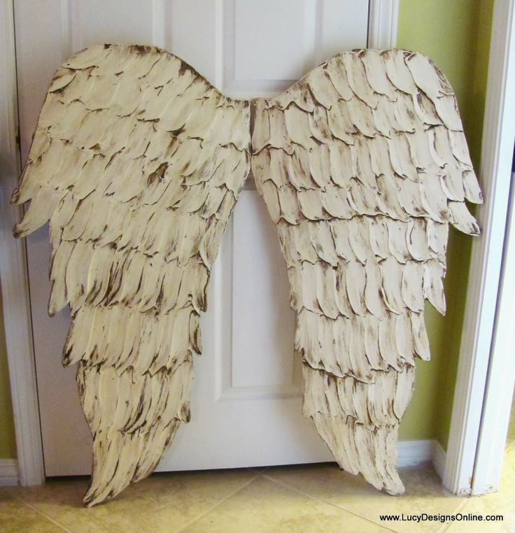 Distressed white angel wing wall art crafts pinterest for Angel wings wall decoration
