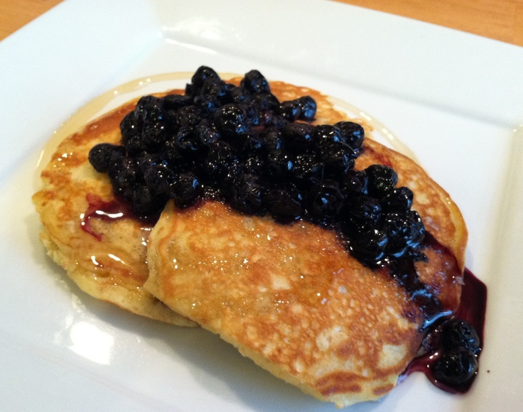 Oatmeal Pancakes With Blueberry Compote Recipe — Dishmaps