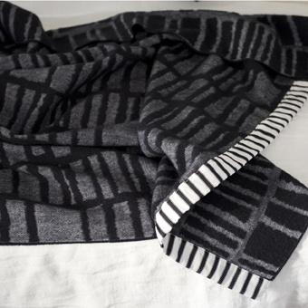 Ardmore Noir Block Design Blanket Made From 100% Merino Lambswool | Designers Guild USA