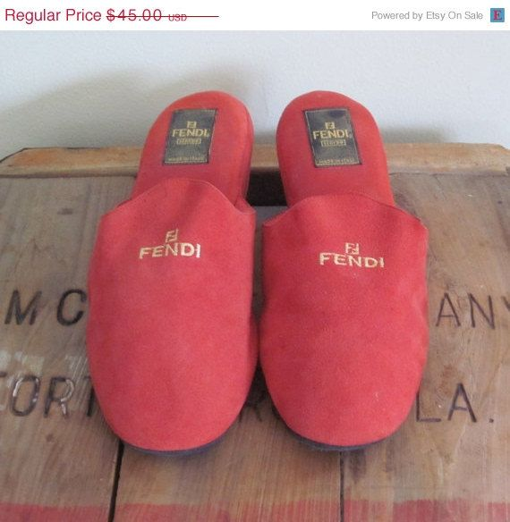 Fendi Slippers / by TheThriftingMagpie, $38.25 #fendi #red #suede