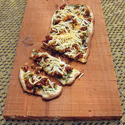 Sausage & Potato Flat Bread with Mustard Greens | Recipe