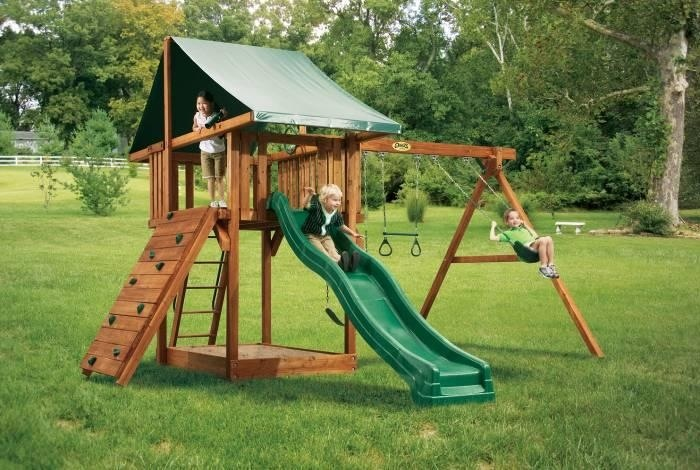 backyard playset just a swingin swing set ideas pinterest