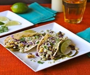 This recipe for Grilled Corn and Poblano Tacos includes black beans ...