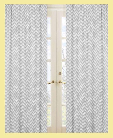 Sweet jojo window treatment panel curtain for zigzag gray yellow