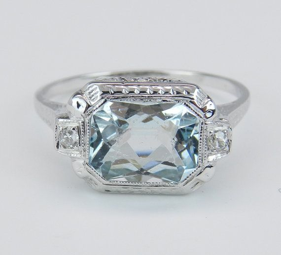 antique deco aquamarine engagement style