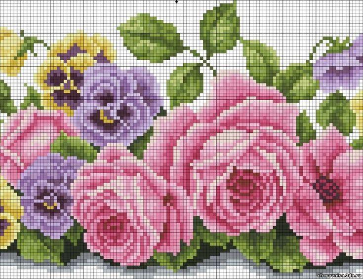 Бордюр розы вышивка крестом 66