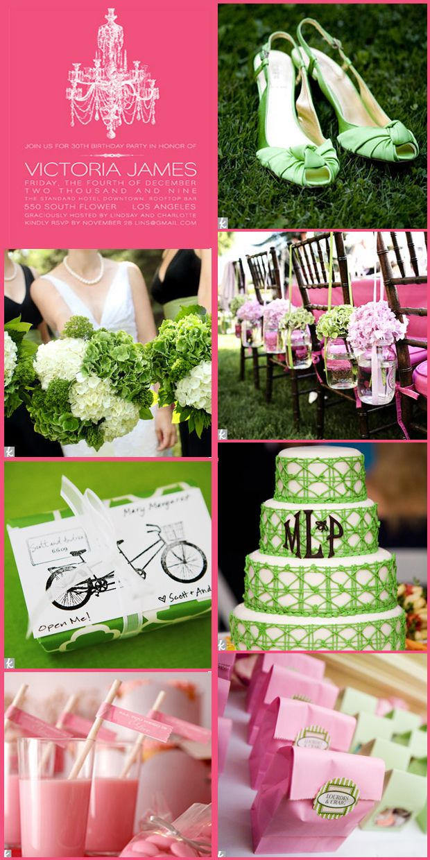 pink and green wedding theme
