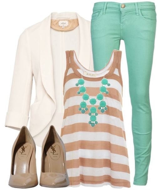 Mint color jeans,white blazer,shoes and stripes top