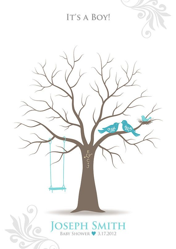 ... Baby Shower Gift, Thumbprint Tree Guest Book Poster, Family Tree