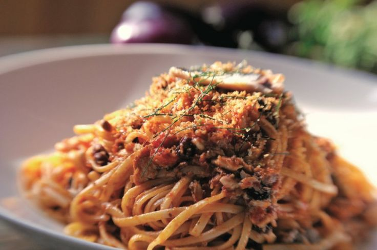 ... sardines at the market, scoop 'em up and put this pasta with sardines