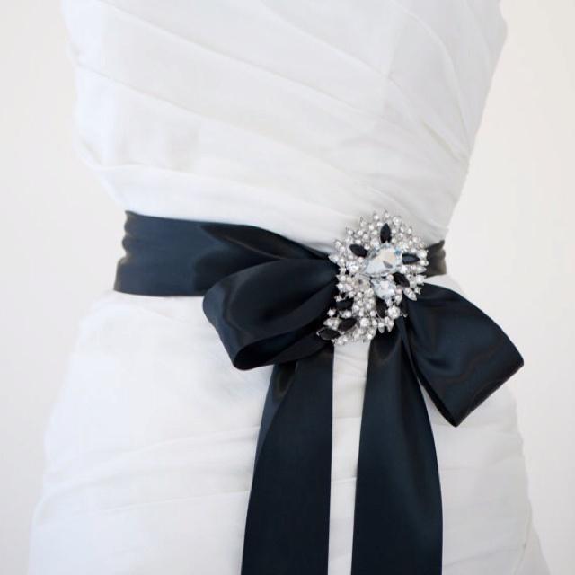 Wedding dress black sash wedding pinterest