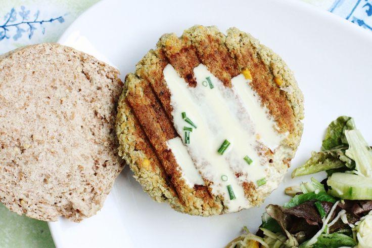 Quinoa Chickpea Burgers with Za'atar Spice and Creamy Tahini Sauce ...