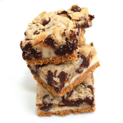 Cookie Dough Cheesecake Bars, with graham cracker crust, cream cheese ...
