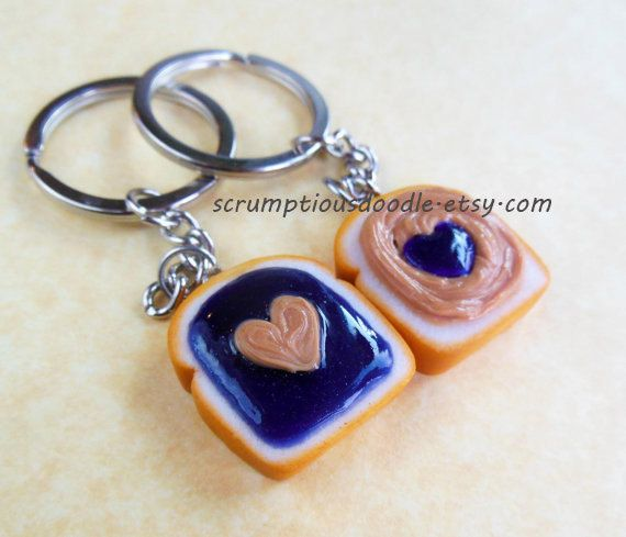 peanut butter and jelly grape heart best friend key chains bff polyme ...