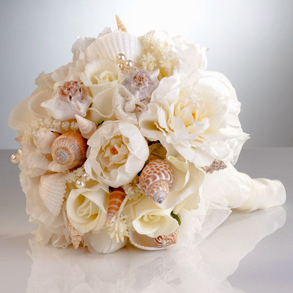 A Day At The Beach Bouquet White Roses White Flowers Sea Shells Bridal Bouquet Wedding Flowers