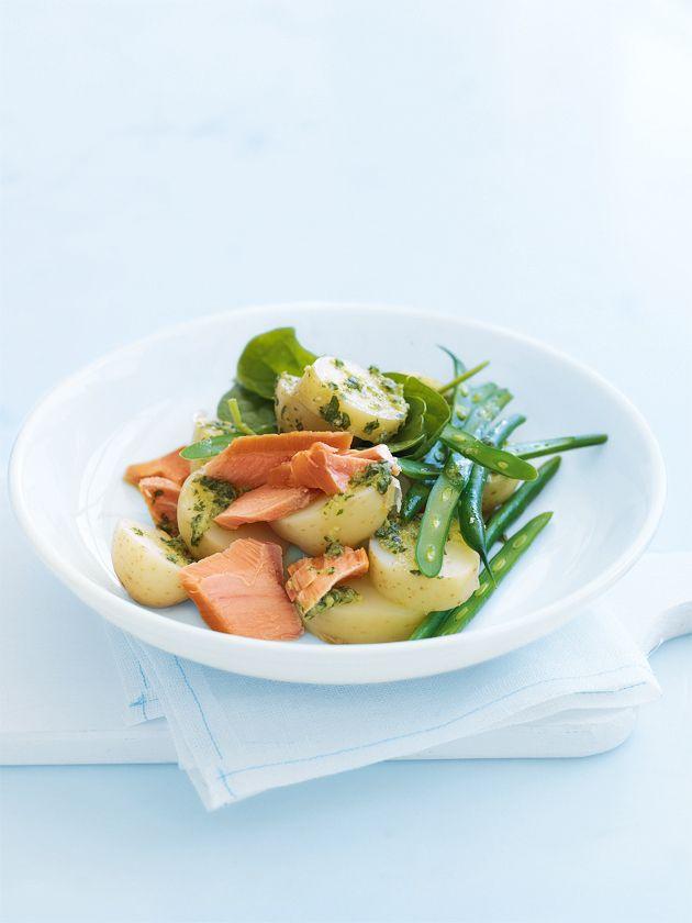 salmon and potato salad with horseradish dressing