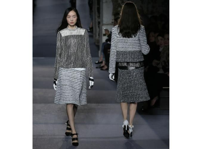 The trend: A Bit Of Skirt  These on-the-knee skirts at Proenza Schouler looked so good worn with bare legs and fanciful heels.