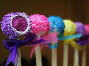 cake pops - I love the ribbon and bright colors!