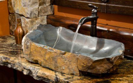 Stone Sink Garden : ... stone sink w/antique faucet: Nice touch with the glazed sink bowl