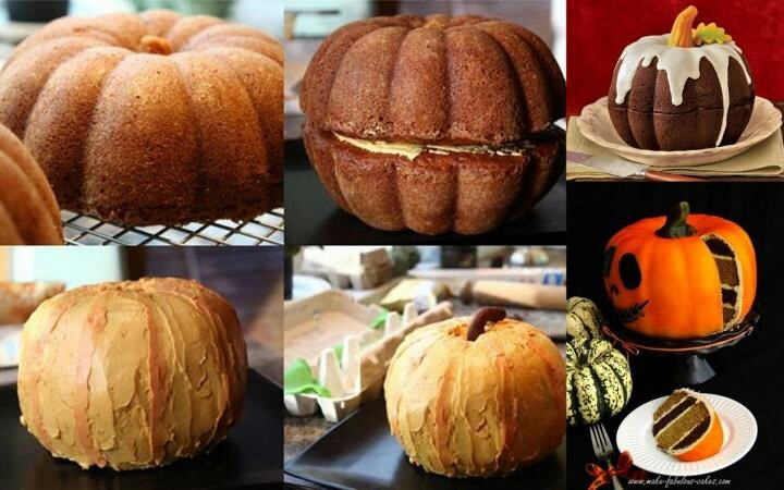 Two bundt tins = pumpkin cake. Use a ice cream cone for the stalk