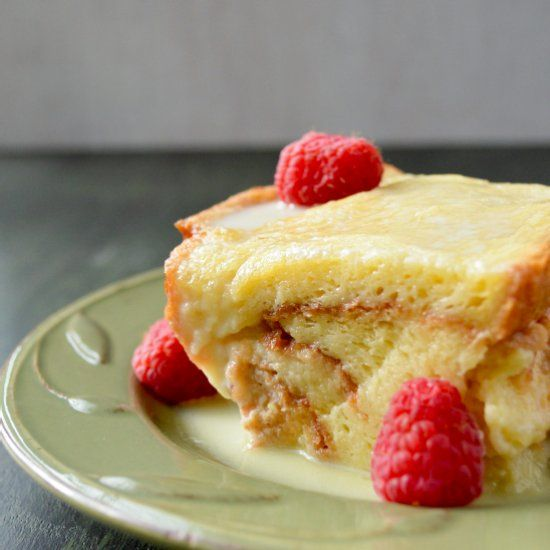 Classic Bread Pudding with White Chocolate and Raspberries.
