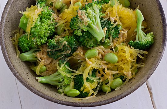 Sesame Soy Spaghetti Squash with broccoli and edamame
