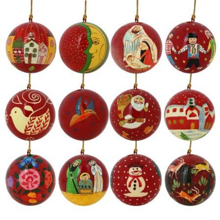 Christmas Tree Ornaments Red Décor Paper Mache Balls Set of 10 ...