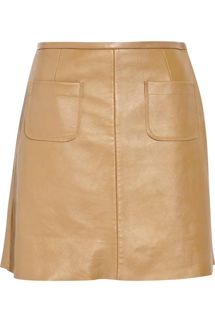 caramel leather a line skirt