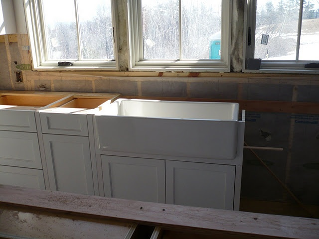 Apron Sink Cabinet : Mounting apron sink Kitchen renovation and cabinet construction P ...