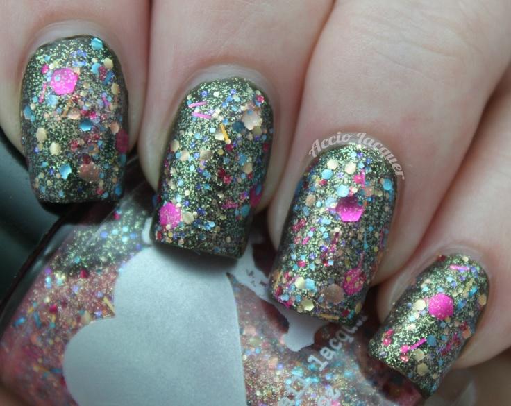 Rainbow Honey Pinkie Promise over China Glaze Near Dark