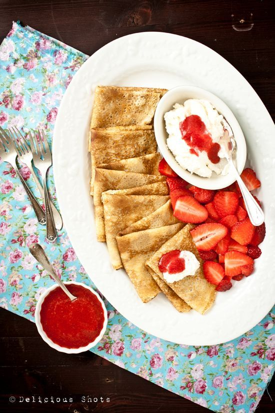 Crepes, Dulce de Leche, Honey Whipped Cream and Strawberry Sauce