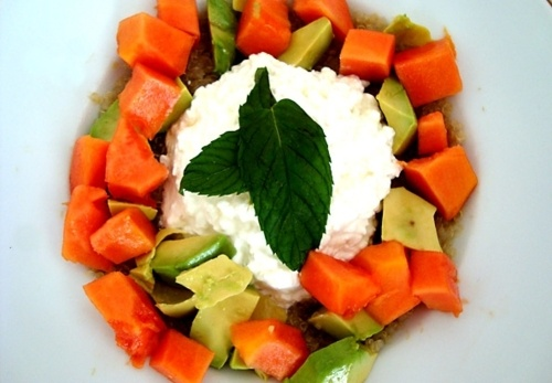 Quinoa (cooked) - Avocado - Papaya - Low fat cottage cheese - Honey to ...