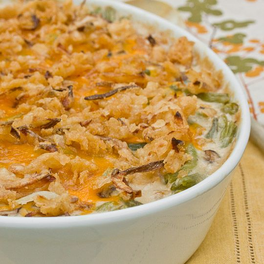 Green Bean Casserole with Mushroom Bechamel & Crispy Onions | Recipe