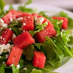 Watermelon, Arugula, Feta Salad (use seasoned/marinated tofu crumbles ...