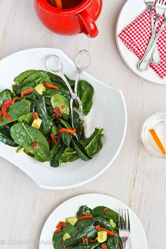 Bourbon Spinach Salad with Bacon & Avocado by Cookin' Canuck #salad #...