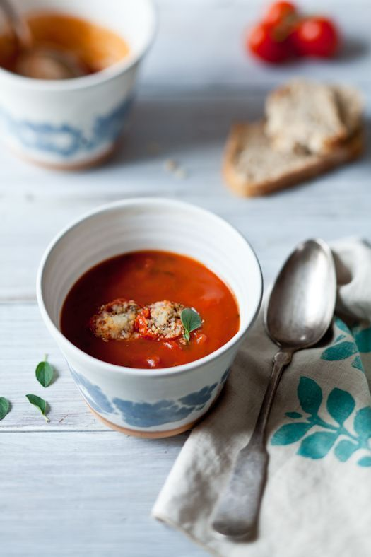 Roasted tomato soup with tomato Parmesan croutons.