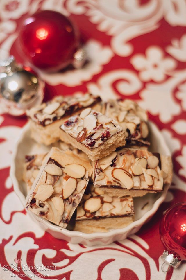 rich chocolate bark filled with dried cranberries and sliced almonds ...