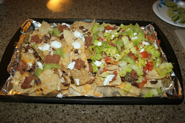 Chicken and Black Bean Nachos (1/2 with lettuce and tomato)