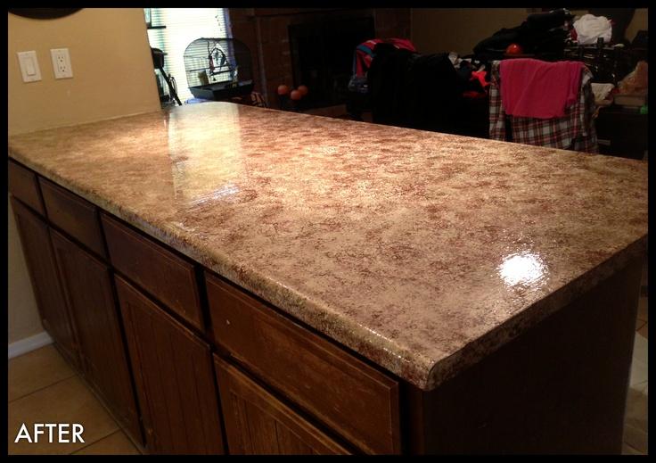 Paint countertops-DIY-after home improvements Pinterest