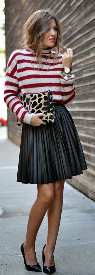 White And Red Stripe Plus Sized Turtleneck with Black Pleated Skirt and Nude Classic Pumps