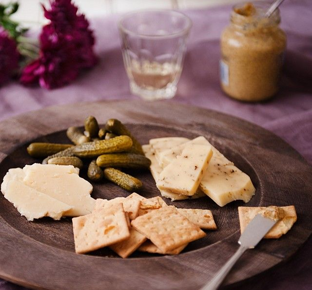 handmade cheese and crackers
