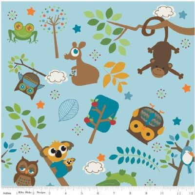 Riley Blake Designs - Kids - Hooty Hoot Returns in Blue - 7.99