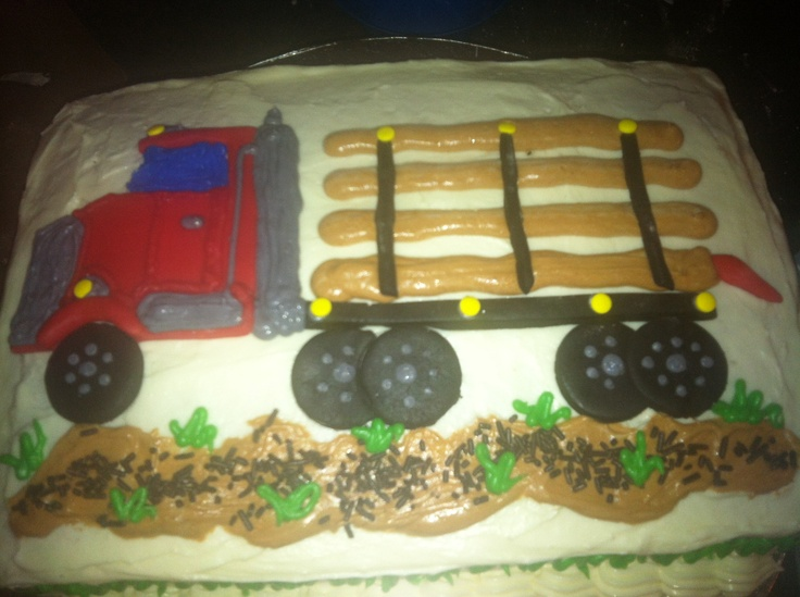 logging truck cake